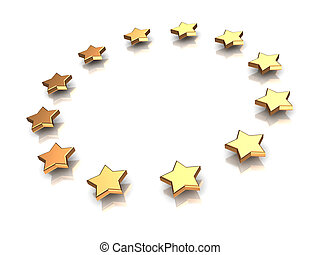 Circle of stars - 3d illustration of group of stars on a...