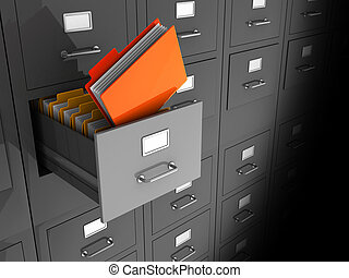 Information - Grey office wall of files with important...