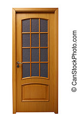 Light brown door - Frontal image of a closed door, isolated...