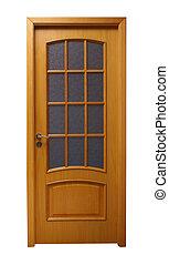 Light brown door - Frontal image of a closed door, isolated...