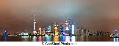 Shanghai at night - Urban skyscrapers in Shanghai at night...