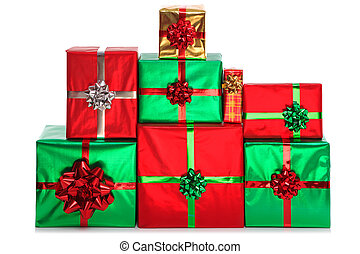 Group of gift wrapped presents.