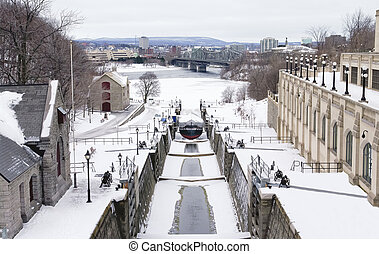 Rideau Canal Locks - The Rideau Canal Locks in Ottawa,...