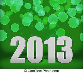 2013, vert, nouveau, année, fond, étape