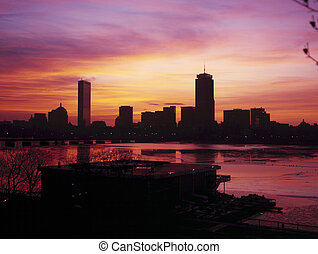 Boston back bay skyline seen at dawn - Skyline of Boston's...