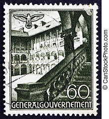 Postage stamp Poland 1940 St. Mary?s Church, Cracow - POLAND...