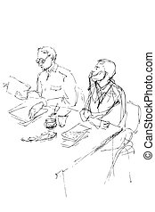 sketch of two young men is in an office