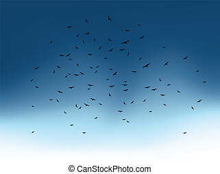 Flock of flying birds on blue sky. Vector