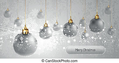 Christmas Banner with silver Globes | EPS10 Vector Background