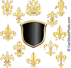 Fleur-de-lis and shield - Vector set of golden Fleur-de-lis...