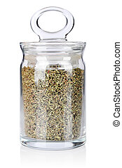 Dried savory in glass bottle isolated on white background