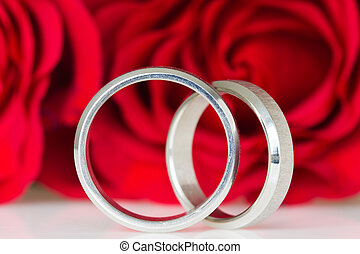two silver rings with red roses in the background