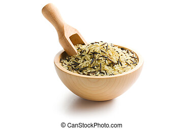 wild rice in wooden bowl on white background