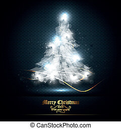 Christmas Greeting Card with Tree of Lights | EPS10 Graphic...