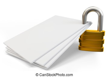 3d lock on blank documents on white background