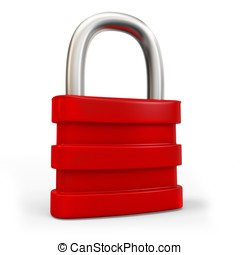 3d padlock security concept - 3d red padlock security...