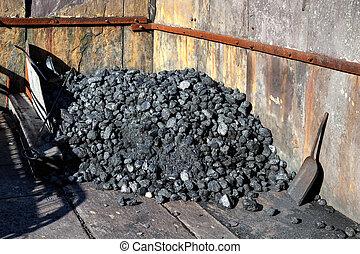 Węgiel, klaps, dziedziniec,  Llanberis, kopalnia