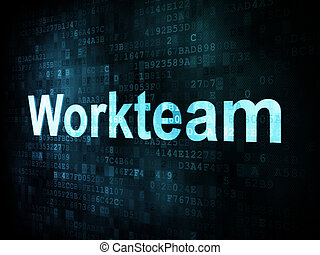Job, work concept: pixelated words Workteam on digital...