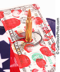 one-dollar bill and cartridge