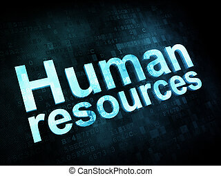 Job, work concept: pixelated words Human resources on...