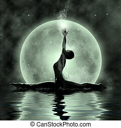 Magic Yoga - Moonlight Meditation- beautiful yoga girl under...