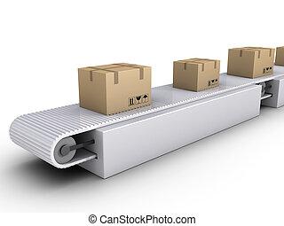 Shipping of boxes on conveyor - 3d carton boxes on conveyor...