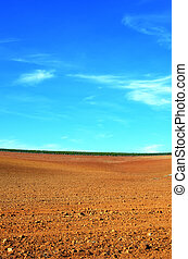 plowed field background at Portugal