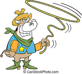 lariat cow - Cartoon illustration of a cowboy cow twirling a...