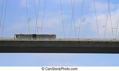 Cable bridge - Buses on the cable bridge