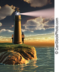 Lighthouse at sunset - Gorgeous landscape with a lighthouse...