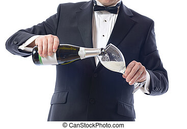Tuxedo Pouring Champagne - Man in Tuxedo Pouring Champagne...
