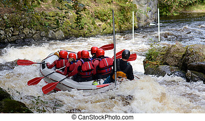 teamwork raft - Concept of teamwork a group white water...