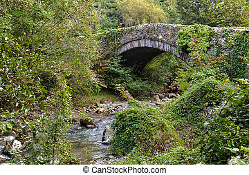 Traditional stone bridge over the Glaslyn River