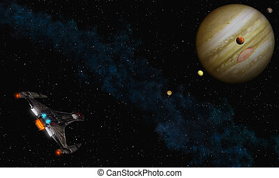 Fly to Jupiter - This image shows a spaceship to fly Jupiter