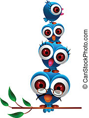 cute blue bird family - vector illustration of cute blue...