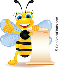 happy bee cartoon with blank sign - vector illustration of...