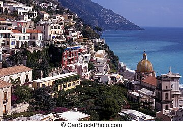 Positano, Amalfi Coast, Italy - View over town and down to...