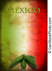 Mexican flag with jalapeno - Tipycal Mexican food: green...
