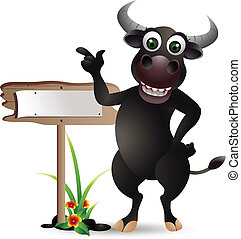 buffalo cartoon with blank board - vector illustration of...