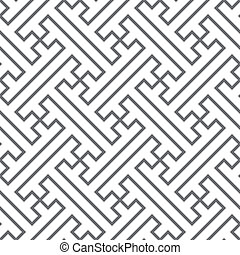 Ethnic vector seamless pattern - gray lines - Ethnic vector...