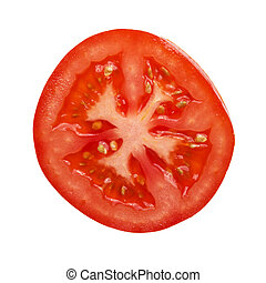 tomato section photographed directly above on white...