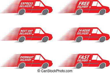 Delivery Van Speed vector - Speeding Red Delivery Truck...