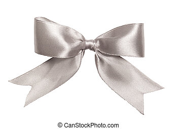 Festive silver bow made of ribbon isolated on white