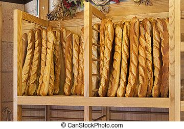 francés, bread, baguettes