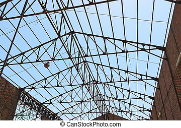 Roof framework of an hangar in abandoned mine