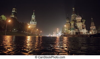 Night Red Square slider - Night Red Square Kremlin St Basils...