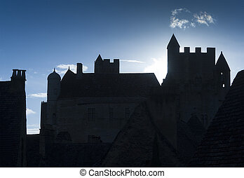 Medieval castle - Medieval 14th century French castle back...