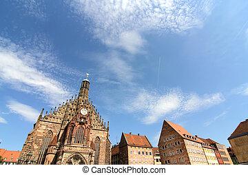 Historic Buildings in Nuremberg, Bavaria, Germany.