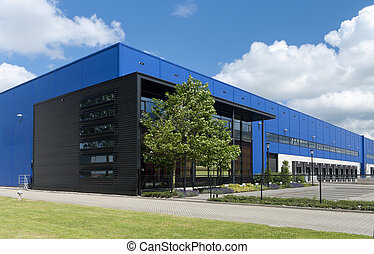 industrial warehouse - modern blue warehouse in the...
