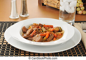 Large bowl of beef pot roast - A bowl of delicious beef pot...